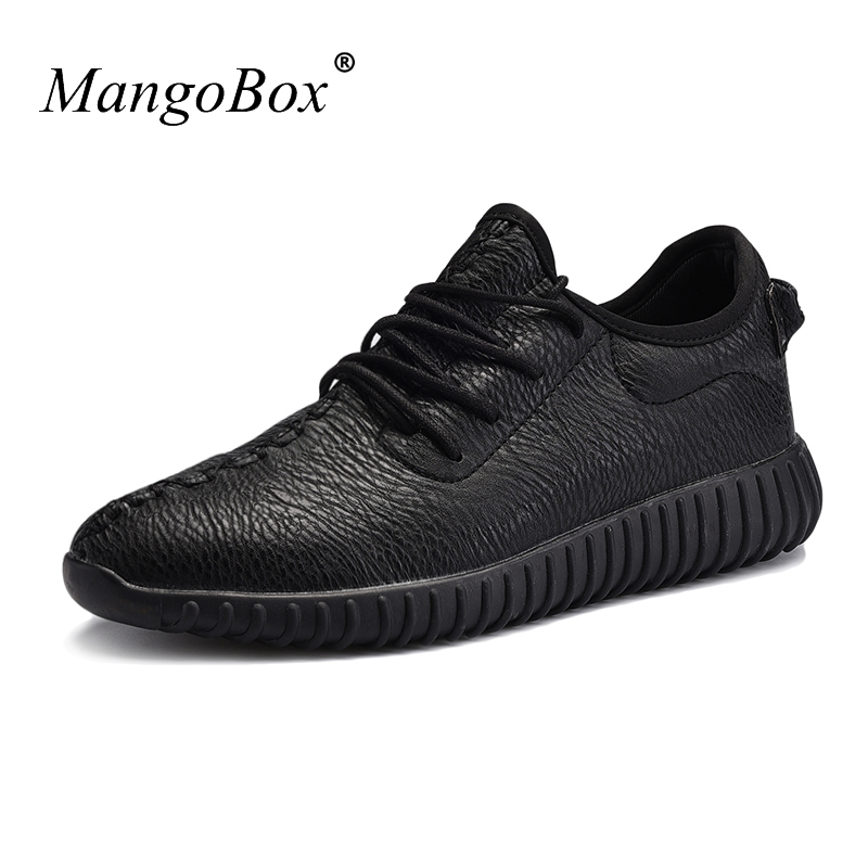 Sport Sneakers for Men Black White Men Running Shoes Rubber Bottom Men Shoes Leather Comfortable Sneakers Summer