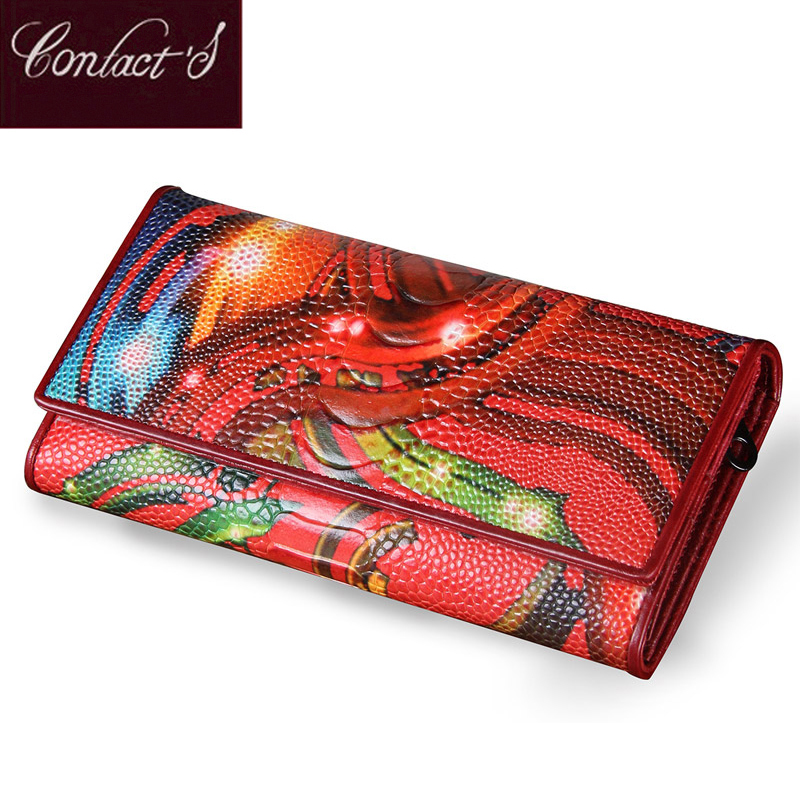 New Fashion Leather Women Wallet Vintage Flower Printed Ostrich Red Wallets Ladies' Long Clutches With Coin Purse Card Holders