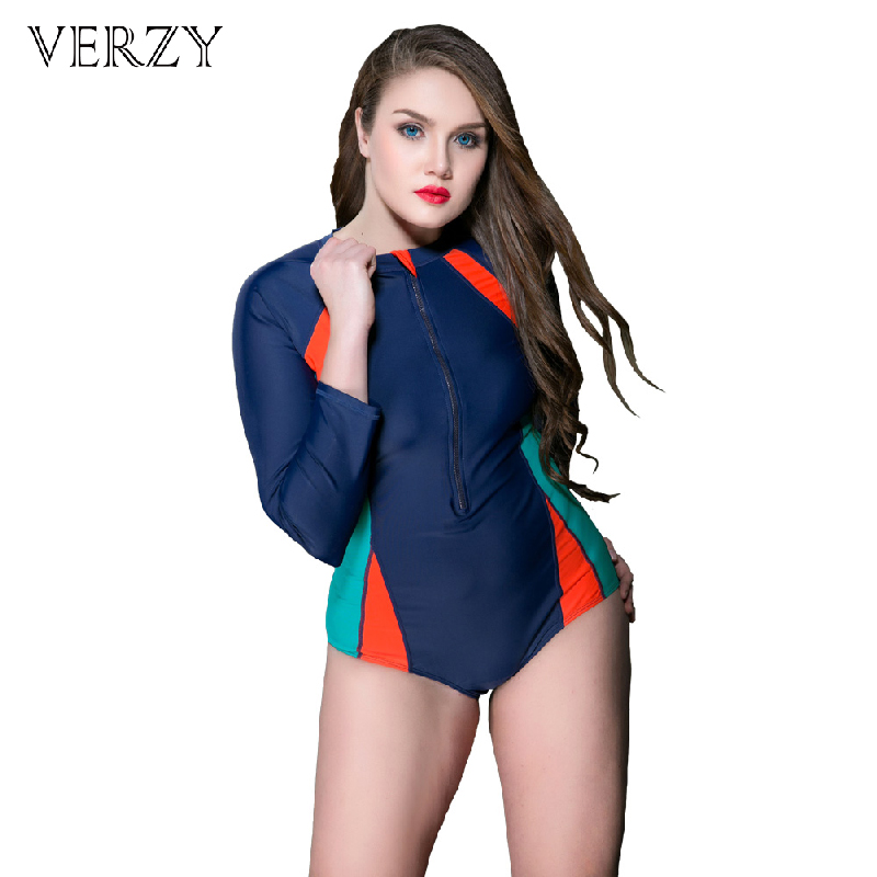 Verzy 2017 One-piece Women Surfing Swimsuit Long Sleeves Sports Swimwear Zipper Protection Bathing Suit Quick Dry Monokini Retro