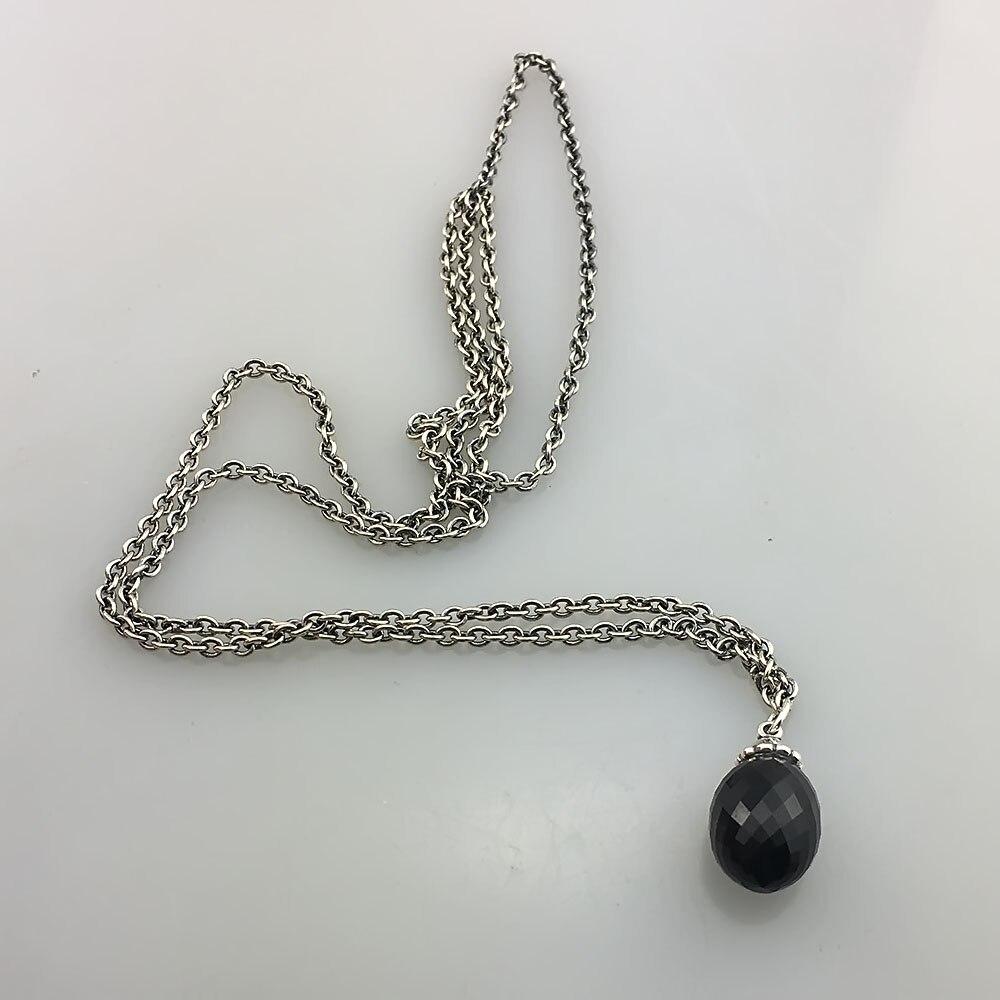 Noir Pendentif Collier De Onyx Pierres Fit Troll Européenne Charmes 925 En Argent Sterling Perles DIY Bijoux Cadeau Pour Femme - 2