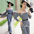 FREE SHIPPING Le Palais Vintage Elegant Classical High Waist Strapless Gray Wide Leg Long Jumpsuits Women Slim Romper Clothing