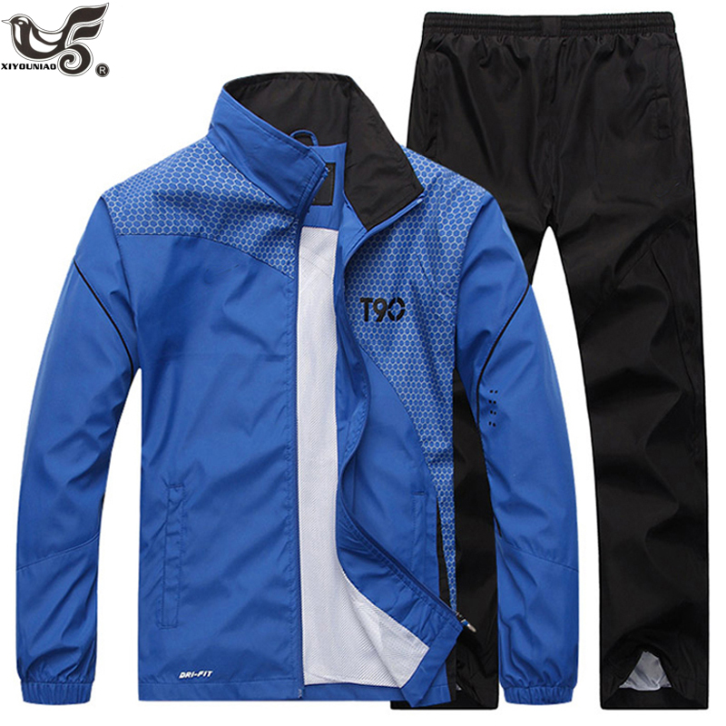 Men's Sportswear Casual Tracksuit Long Sleeve Running Jogging Athletic Male Sets Outwear 2pcs Sweatshirt + Pant Track Suit Men