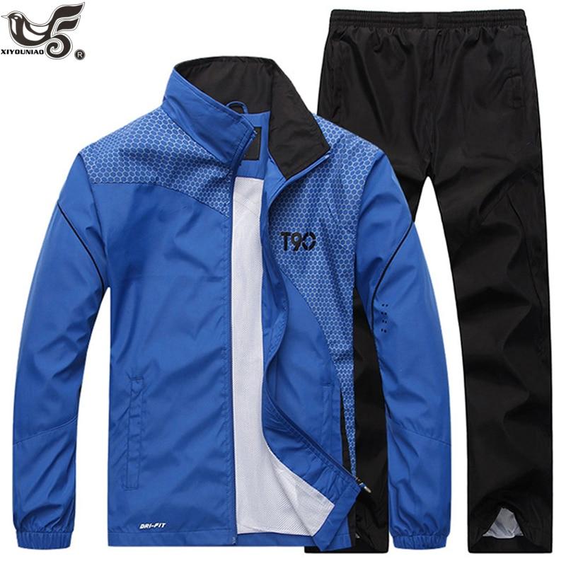 Men's Sportswear Casual Tracksuit Long Sleeve Running Jogging Athletic Male Sets Outwear 2pcs Sweatshirt + Pant Track Suit Men