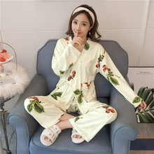 741f6ae2b9767f Drukuj kwiat panie wiosna Satin piżamy domu nosić eleganckie Kimono koszula  + spodnie snu ustawić dorywczo