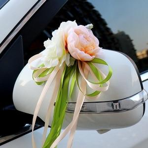 Image 2 - רכב חתונה קישוט פרח 10 צבעים דלת ידיות Rearview מראה חתונה ידית לקשט מלאכותי פרח לחתונה