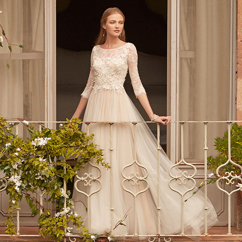 Lorie Lace Wedding Dresses 2019 Appliqued With Lace A Line: Aliexpress.com : Buy LORIE Long Sleeve Wedding Dress Scoop