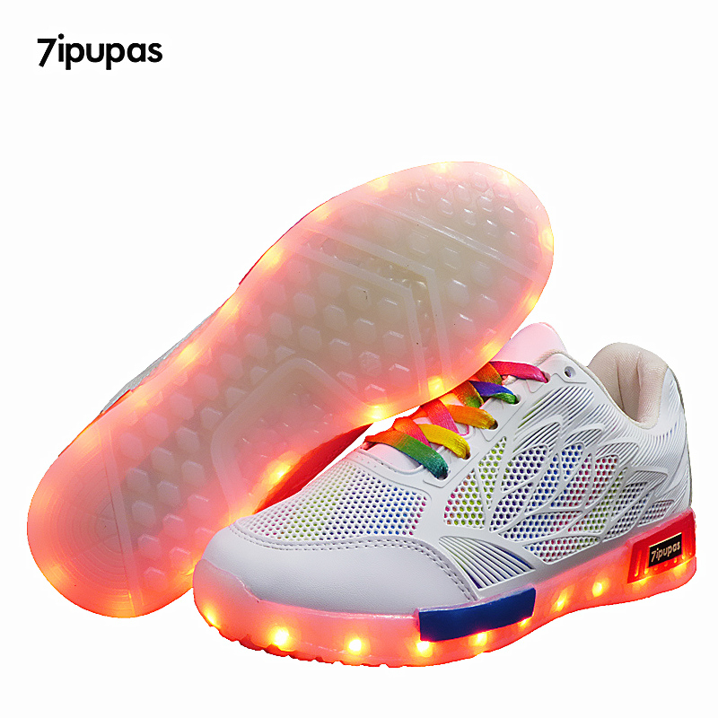 7ipupas Children USB Charging kids Led shoes Air mesh LED Luminous sneakers Casual Boys Girls breathable Sneakers Glowing Shoes