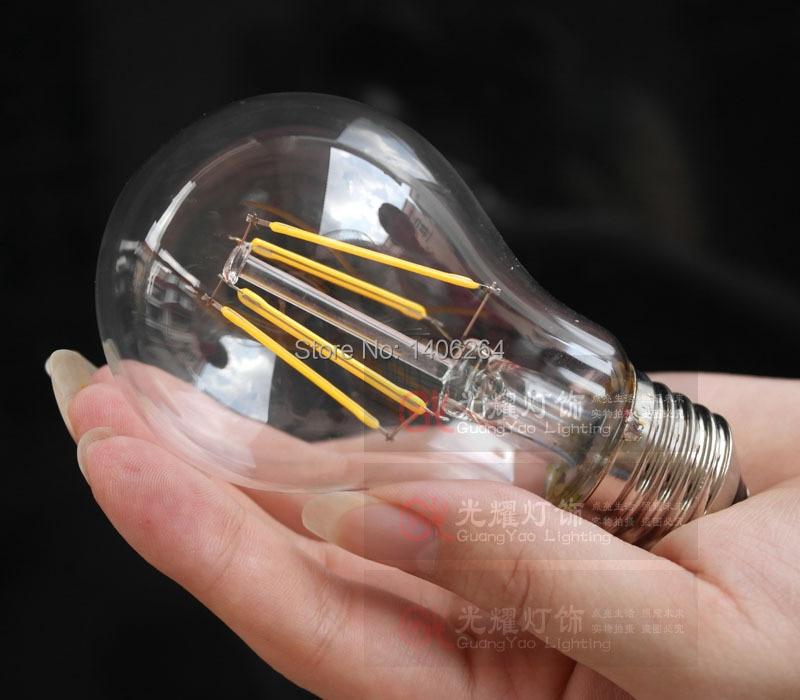 6PCS RH LOFT 4W A19 Vintage Retro LED E27 Filament light Bulb Old Fasioned Warm White AC110V Or 220V - 3