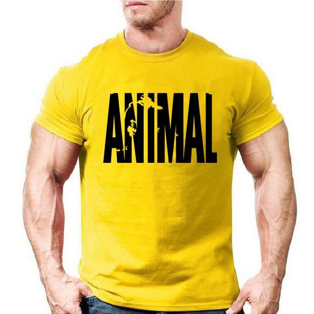 Hayvan baskı eşofman t shirt erkek kas spor T-shirt trendleri erkekler vücut geliştirme 2018 pamuk marka giyim tops Tees