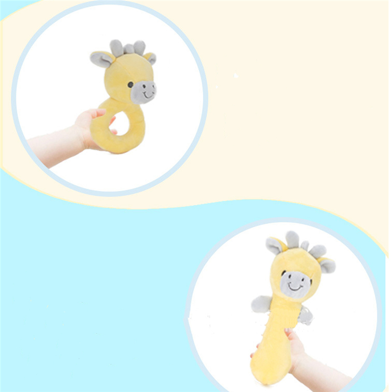 1Pc New Style Baby Cartoon Plush Rattle Bell Newborn Hand Grip Toy Soft Portable Crib Doll Cute Gray Elephant Yellow Deer Doll