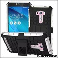 Heavy duty híbrido duplo armadura duro pc silicone case para asus zenfone selfie zd551kl com estribo lateral