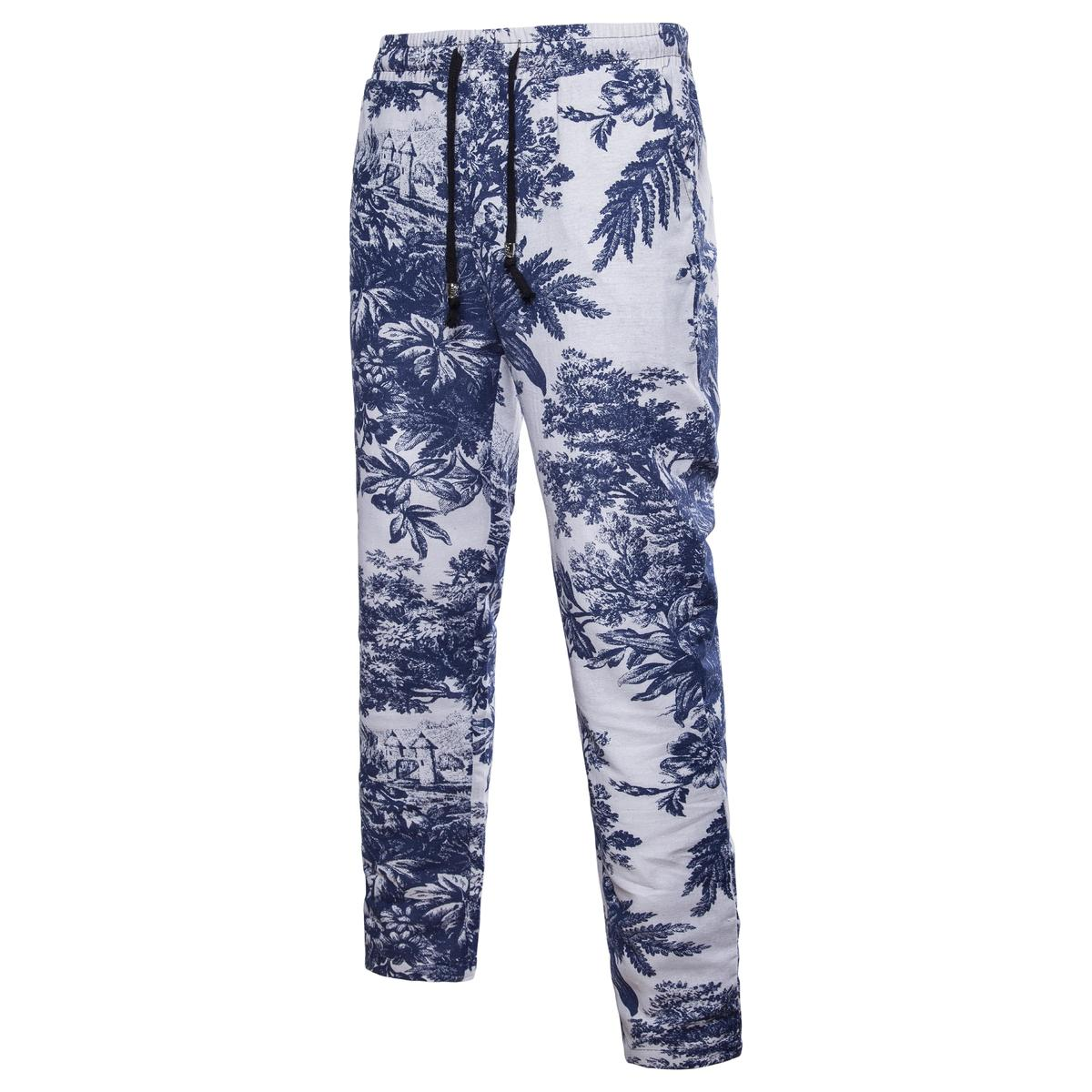 2018 Spring And Summer New Japanese Youth Fashion National Wind Flower Pants Linen Trousers Men Loose Large Size Lace