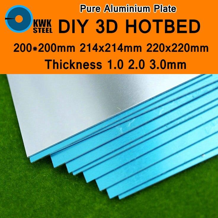 Placa de chapa de aluminio, marco de placas puras para impresora 3D, cama calefactable DIY, cama caliente de 214x214mm, 220x220mm, 1mm, 2mm, 3mm