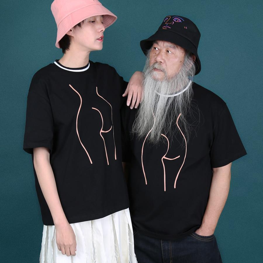YIZISToRe original décontracté normcore minimalistshort manches couple T-shirts avec impression pour filles et garçons dans 4 styles (FUN KIK)