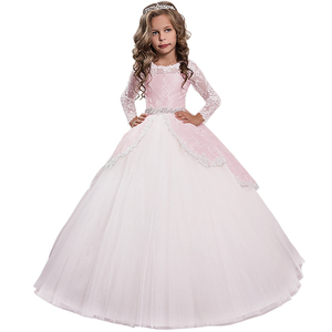 Image 3 - New Princess Lace Flower Girl Dresses Long Sleeves Floor Length Pageant Dresses First Communion Dresses Ball Gowns For Girl