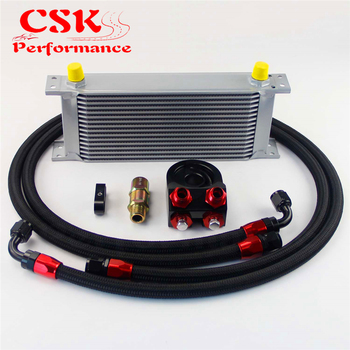 Universal 16 Row 248mm AN8 Engine Transmission Oil Cooler British Type +  Aluminum Filter Adapter Kit Silver