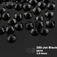 SS16 Jet Black DMC Hotfix Crystals Rhinestone Flatback Beads Transfer Design 1440pcs Bag Garment Accessories Brides