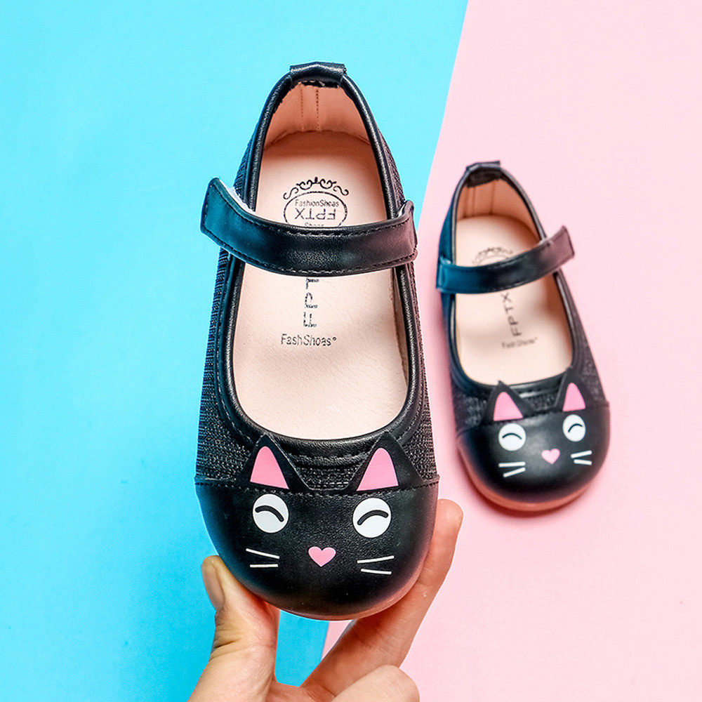 Girls Shoes Toddler Baby Girls Children Cute Cartoon Cat Leather Single Shoes Princess Shoes Children's Shoes Chaussures Fille