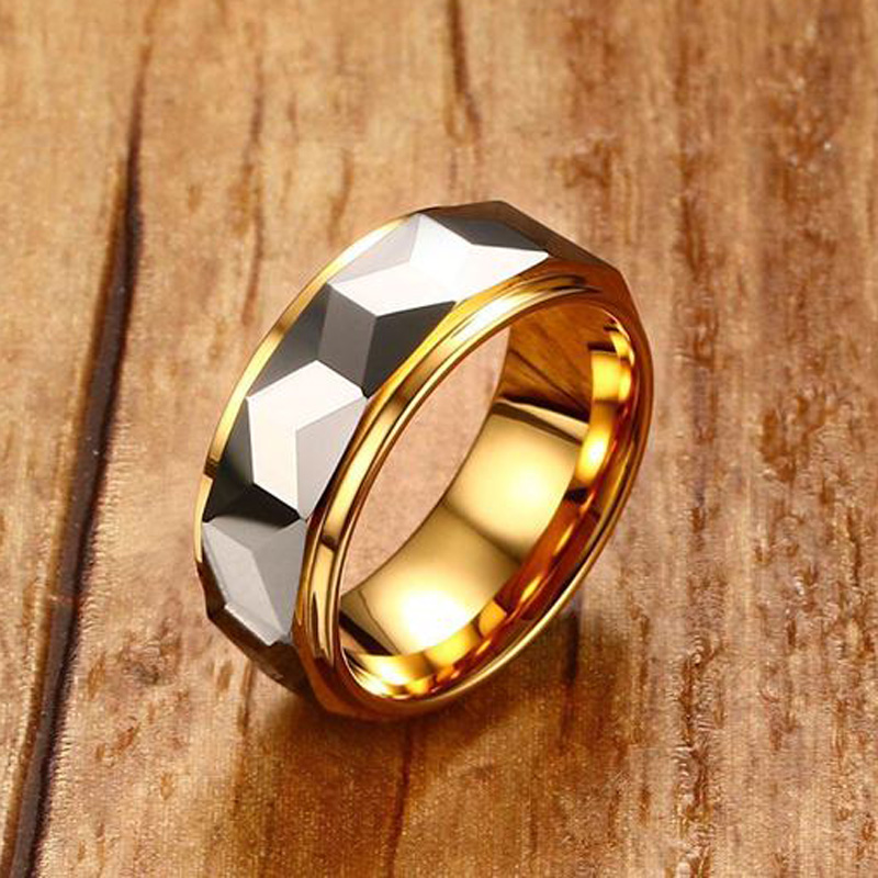 Mprainbow Mens Ringe Hartmetall Multi-Facettiert Poliert Ring für Männer Hochzeit Engagement Band Modeschmuck mit Geschenk-box