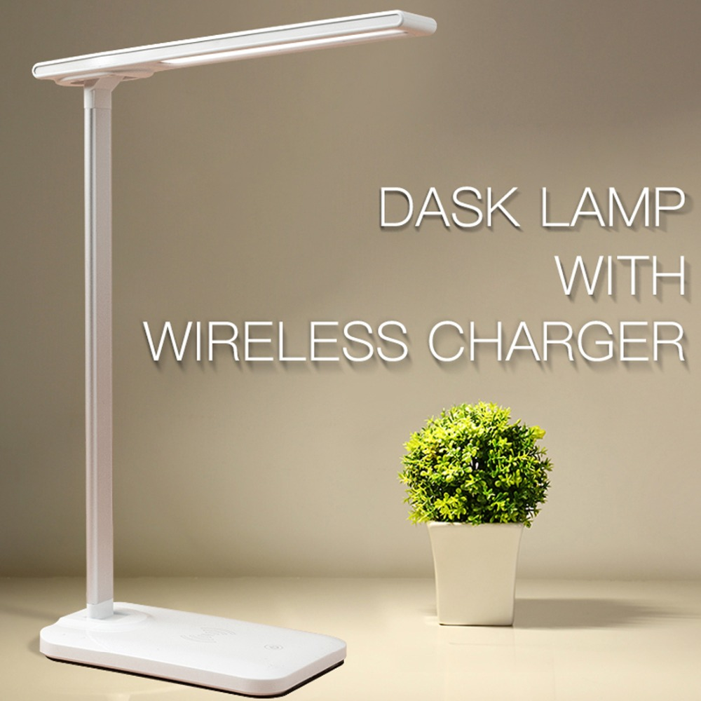 FCLUO LED Desk Lamp With Wireless Charger USB Charging Port Adajustable Eye-Caring 10W/5W Table Lamp Charger For Iphone XR XS X