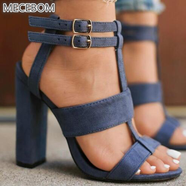 f3f92b076d5dfd 2018 Wind Summer Women s sandals Square Heel 10cm Navy Female High Heels  Women s Shoes Woman Sandals Ankle Strap Heels 520W