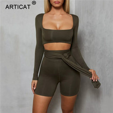 Articat Long Sleeve Bodycon Rompers Womens Jumpsuit Two Piece Set Square Collar Bandage Short Playsuit Casual