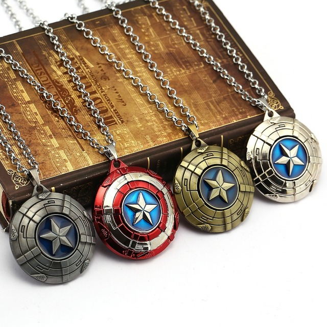 Captain America Necklace The Avengers Rotatable Pendant Fashion Stainless Steel Chain Necklaces Gift Jewelry Accessories 5