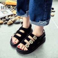 Dailan Jeanna Sandals Female Flat Sandals Summer All Match Large Children Slip Resistant Young Girl Flat
