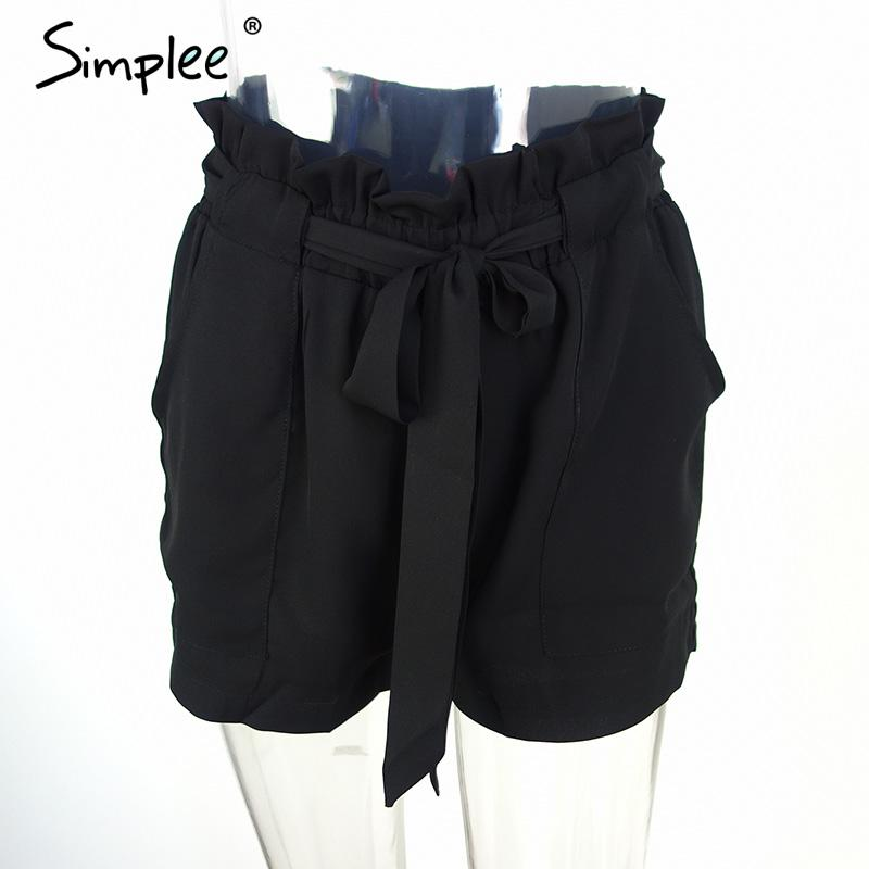 HTB1dPNANVXXXXXSXFXXq6xXFXXXl - Chiffon shorts Bow high waist  belt PTC 94