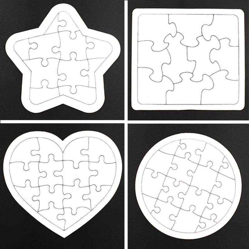 1PCS Blank Paper Jigsaw Puzzle Children's DIY Puzzle Graffiti Drawing Toddlers' Toys