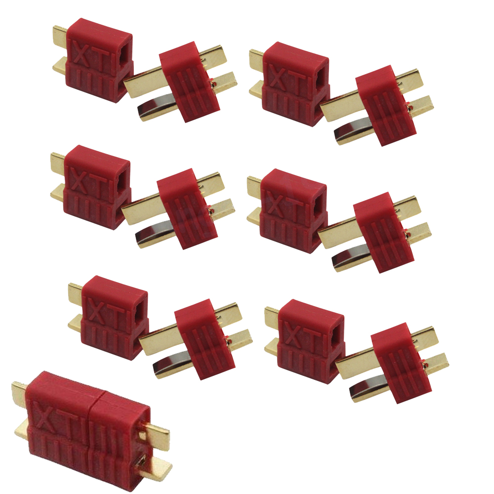 10pairs Anti-skidding Deans T Plug Connector Female/Male for RC Lipo Battery ESC Rc Helicopter
