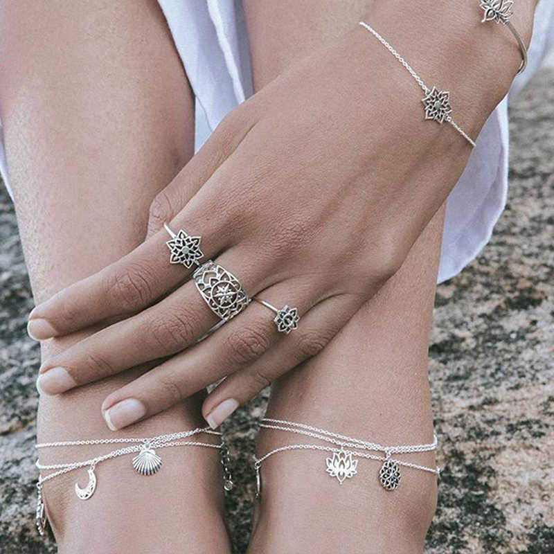 أوروبا وأمريكا الصيف جديد البوهيمي اللوتس yoga خلخال الإناث بسيطة شاطئ مجوهرات خلخال القدم الحلي