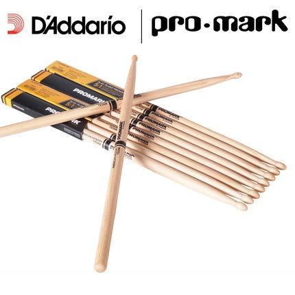 Promark by D'addario TX5AW 5A Wood Tip Hickory Drumsticks, 5B 2B 7A Daddario