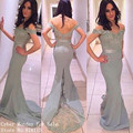 Mermaid Bridesmaid Dresses 2016 Custom Made Grey Color Lace Appliques Floor Length Wedding Party Dress Formal Long Gowns
