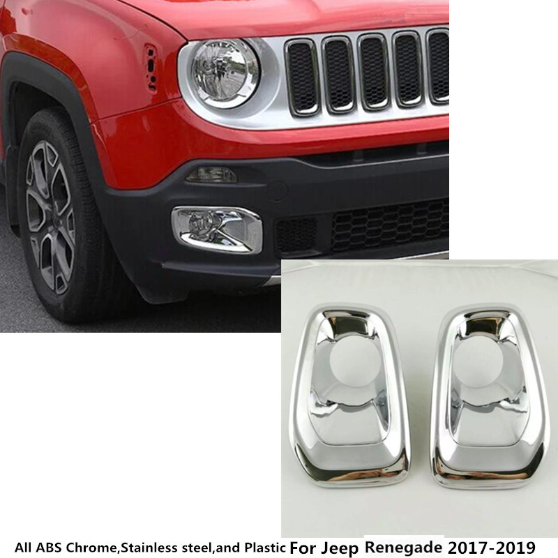 Hot sale Car front fog light lamp frame stick styling ABS Chrome cover trim parts moulding 2pcs For Jeep Renegade 2017 2018 2019