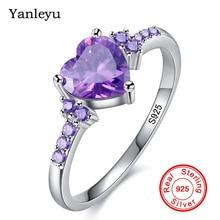 Yanleyu Original Solid 925 Sterling Silver Rings for Women Heart Purple Crystal CZ Wedding Eng...