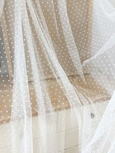 5 Yards Off white 3D polka dotted bridal tulle lace fabric, soft flowy illusion net for lining, veils baby clothes