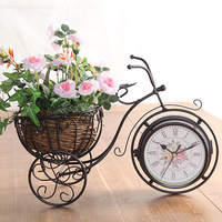 Retro style tricycle Mute table clock Vintage Iron Art Double sided Silent desk clock decoration ornaments mx5211430