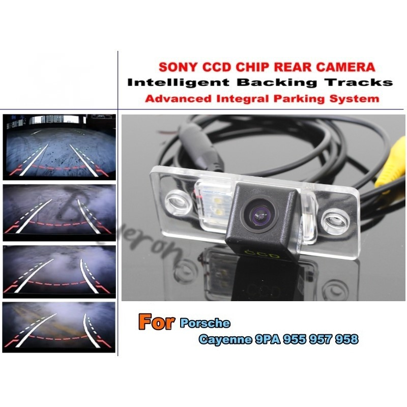 For Porsche Cayenne 9PA 955 957 958 Smart Tracks Camera / HD CCD Intelligent Dynamic Tragectory Parking Car Rear View Camera for mercedes benz c class mb w205 2014 2016 smart tracks chip camera hd ccd intelligent dynamic parking car rear view camera