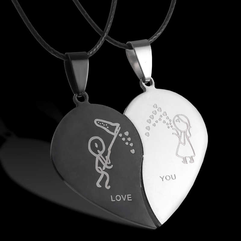 Fashion Broken Heart Pendant Lover Necklace Leather Chain Necklace Stainless Steel couple Necklaces Valentine's Day gift