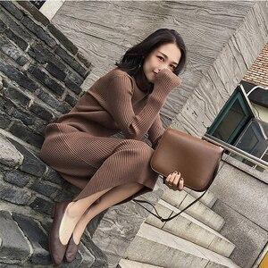 Длинный свитер женский 2018 осень зима новый сетевой красный пуловер приталенная юбка Ремонт Высокий воротник кашемировый свитер до колена ж...