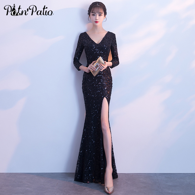 2c44ae5ed6 PotN Patio Long Sleeve Mermaid Prom Dresses Sexy V-neck See Through Back  Slit Black Sequined Long Formal Evening Gown 2018