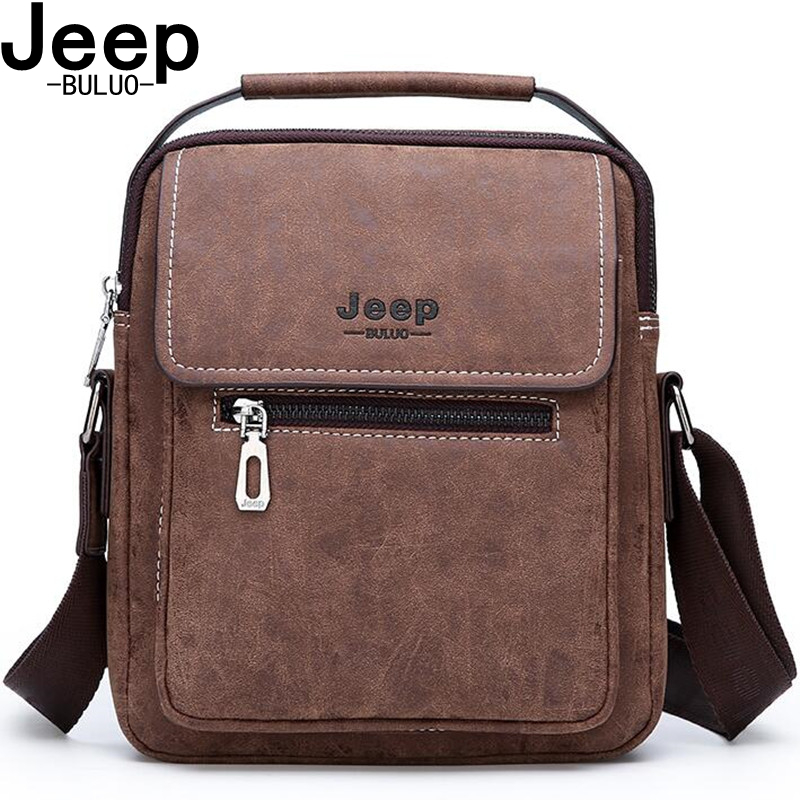 JEEP BULUO Brand Frosted Leather Totes Classic Brown Crossbody Bag Man's Handbag Hot Sale Men Messenger Shoulder Bags New Style