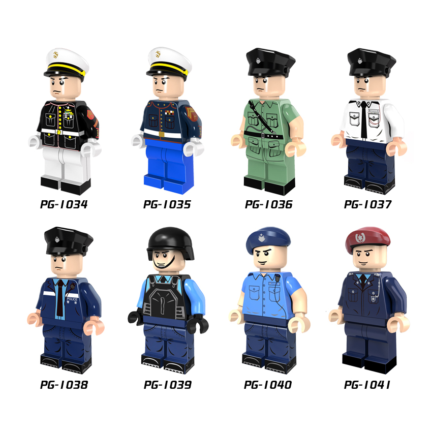 Single Sale Marine Corps Flying Tigers Police Policeman Mini Building Blocks Figure Brick Toy Kids Gift Compatible Legoed PG8062