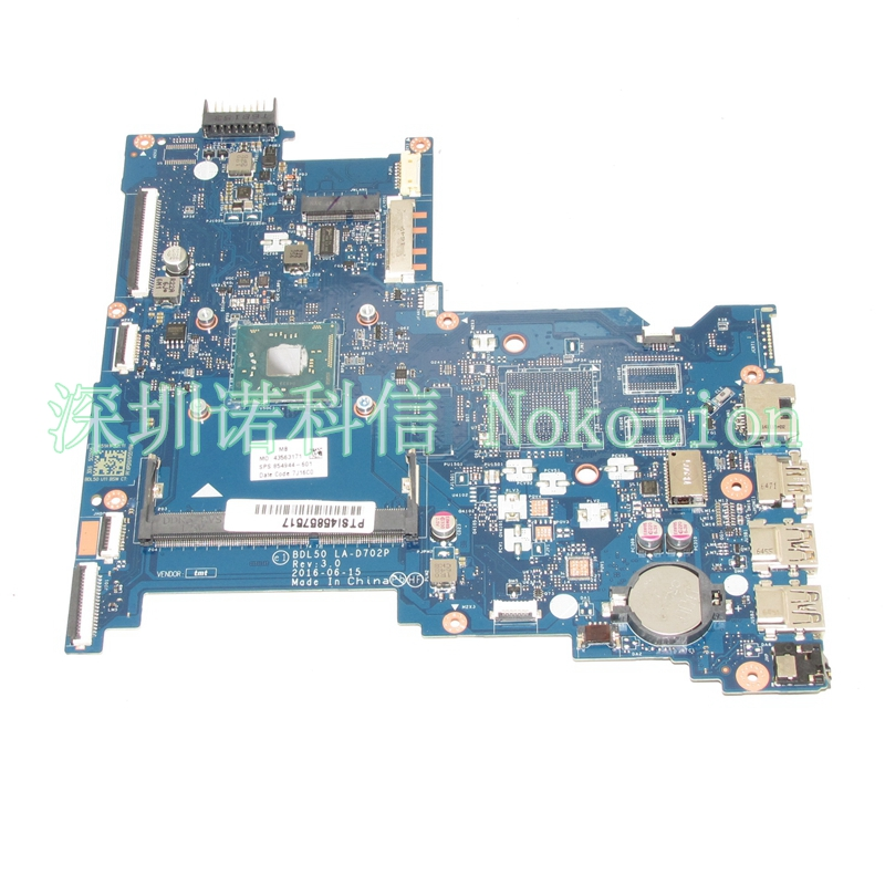 NOKOTION Original 854944-601 854944-001 Laptop Mainboard For HP 250 G5 Motherboard BDL50 LA-D702P Works nokotion original 854944 601 854944 001 laptop mainboard for hp 250 g5 motherboard sr2kn n3060 bdl50 la d702p works