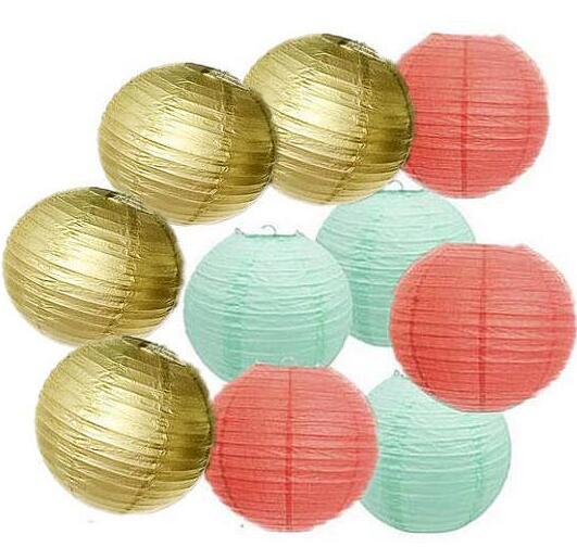 10 pcs or corail menthe vert papier lanterne abat jour pour le mariage anniversaire baby shower. Black Bedroom Furniture Sets. Home Design Ideas