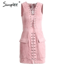 Simplee sexy lace up suede lether dress natal escavar cintura alta sem mangas mulheres dress party club curto do vintage dress(China (Mainland))