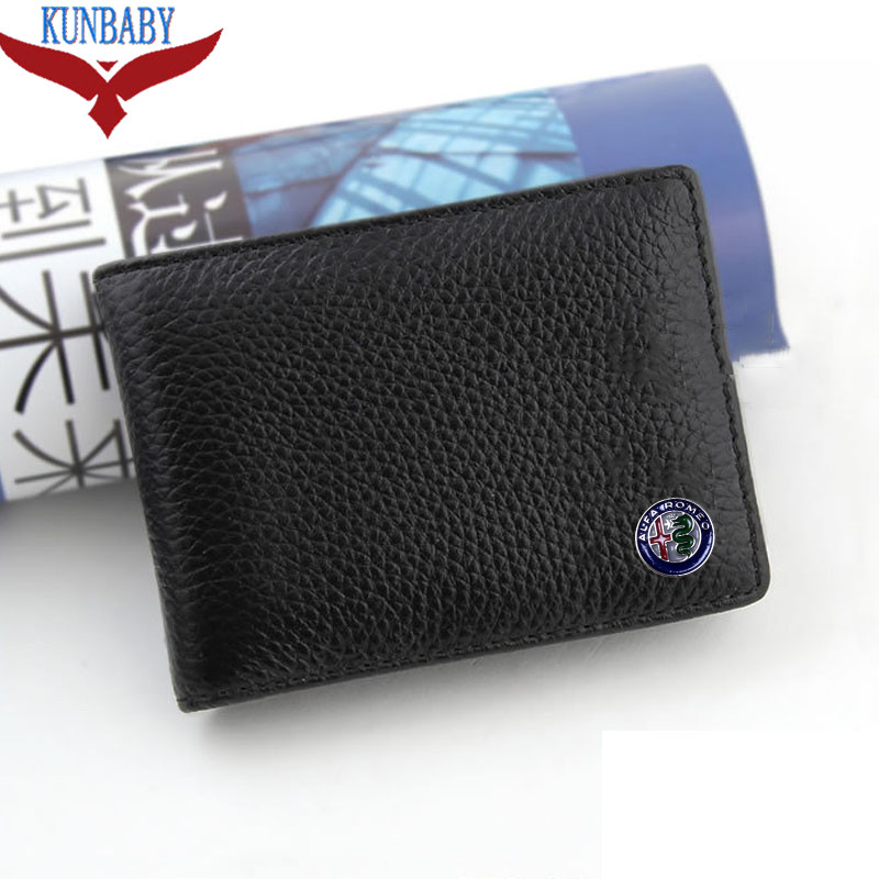 KUNBABY Black Leather Car Logo Bag Card Package Driver License For Alfa Romeo Car Styling
