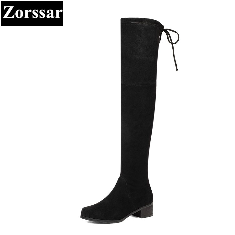 {Zorssar} 2018 New winter fur Women shoes Round Toe Thick heel Knight boots Kid Suede Mid heel womens over-knee snow boots zorssar 2018 new fashion women boots genuine leather zipper round toe mid heels womens mid calf boots autumn winter women shoes