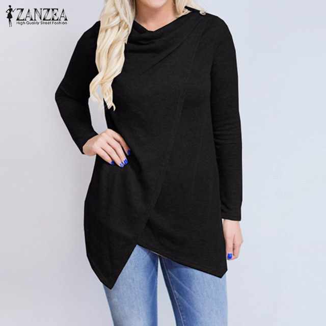 2018 Autumn ZANZEA Women Outerwear Cardigan Long Sleeve O Neck Female Casual Loose Blouses Shirts Solid Asymmetrical Blusas Tops 4